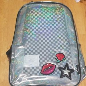 Style lab Clear Holographic Girl Patches Backpack